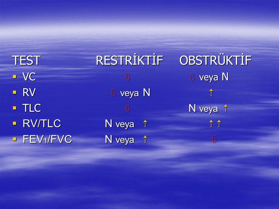 TESTRESTRİKTİFOBSTRÜKTİF  VC ⇩ ⇩ veya N  RV ⇩ veya N ⇡  TLC ⇩ N veya ⇡  RV/TLC N veya ⇡⇡⇡  FEV 1 /FVC N veya ⇡ ⇩