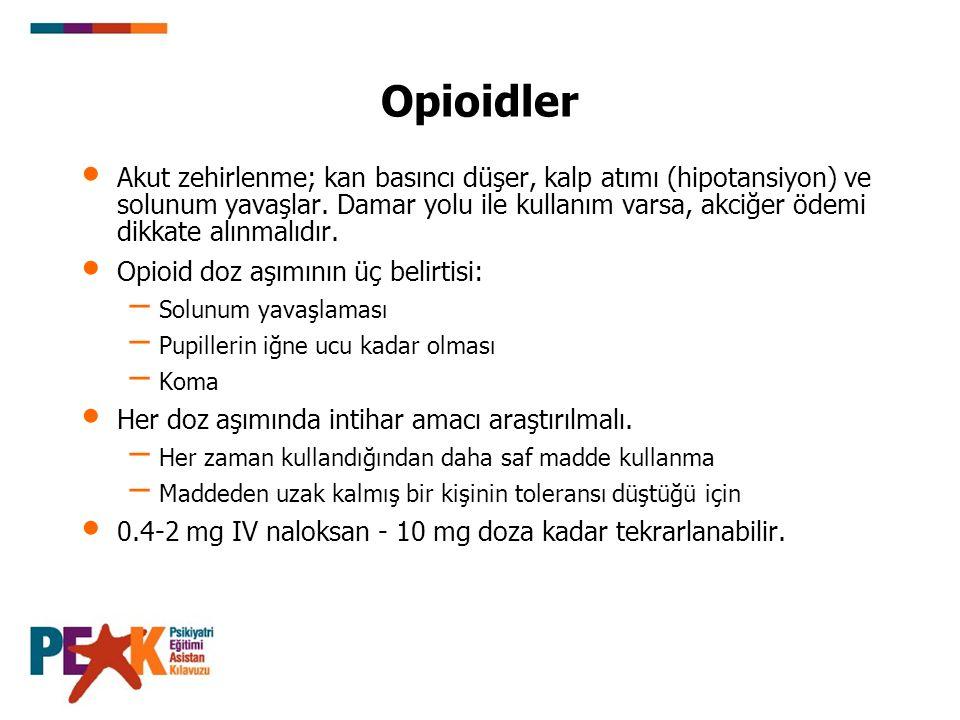 Opioidler Akut zehirlenme; kan basıncı düşer, kalp atımı (hipotansiyon) ve solunum yavaşlar. Damar yolu ile kullanım varsa, akciğer ödemi dikkate alın