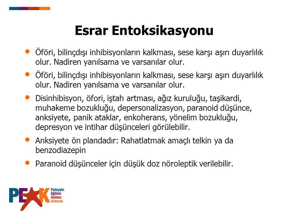 Esrar Entoksikasyonu Öföri, bilinçdışı inhibisyonların kalkması, sese karşı aşırı duyarlılık olur. Nadiren yanılsama ve varsanılar olur. Disinhibisyon
