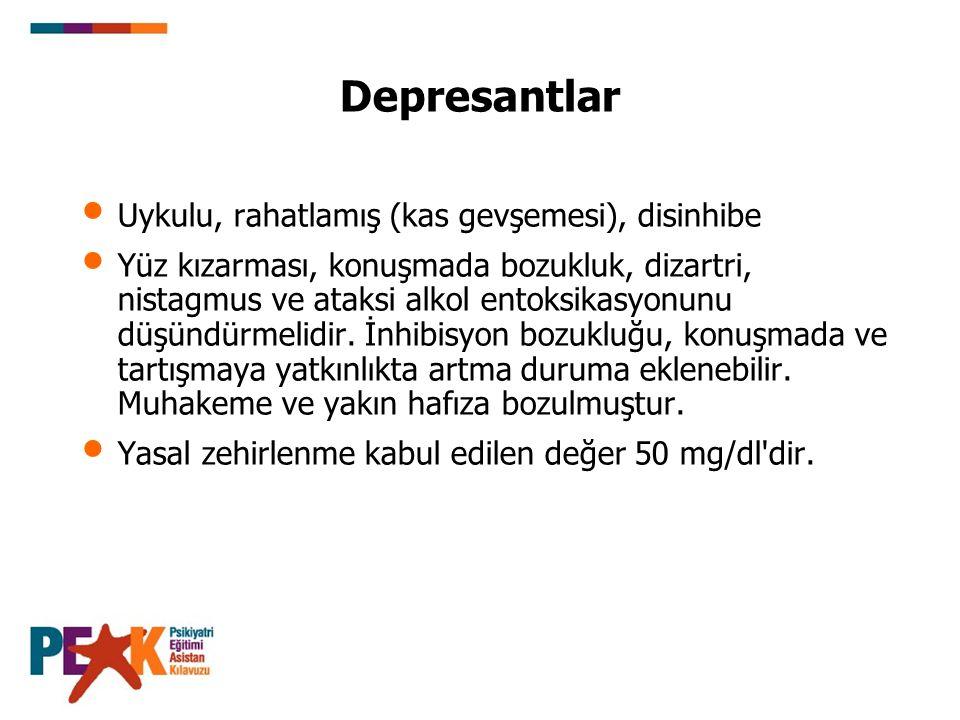 Depresantlar Uykulu, rahatlamış (kas gevşemesi), disinhibe Yüz kızarması, konuşmada bozukluk, dizartri, nistagmus ve ataksi alkol entoksikasyonunu düş