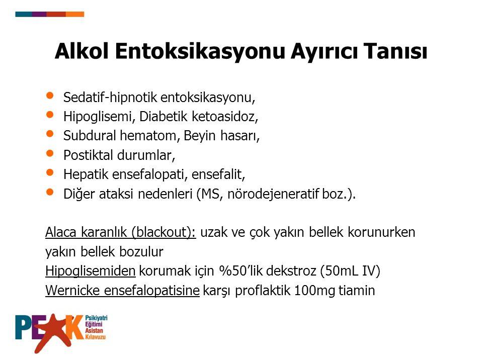 Alkol Entoksikasyonu Ayırıcı Tanısı Sedatif-hipnotik entoksikasyonu, Hipoglisemi, Diabetik ketoasidoz, Subdural hematom, Beyin hasarı, Postiktal durum
