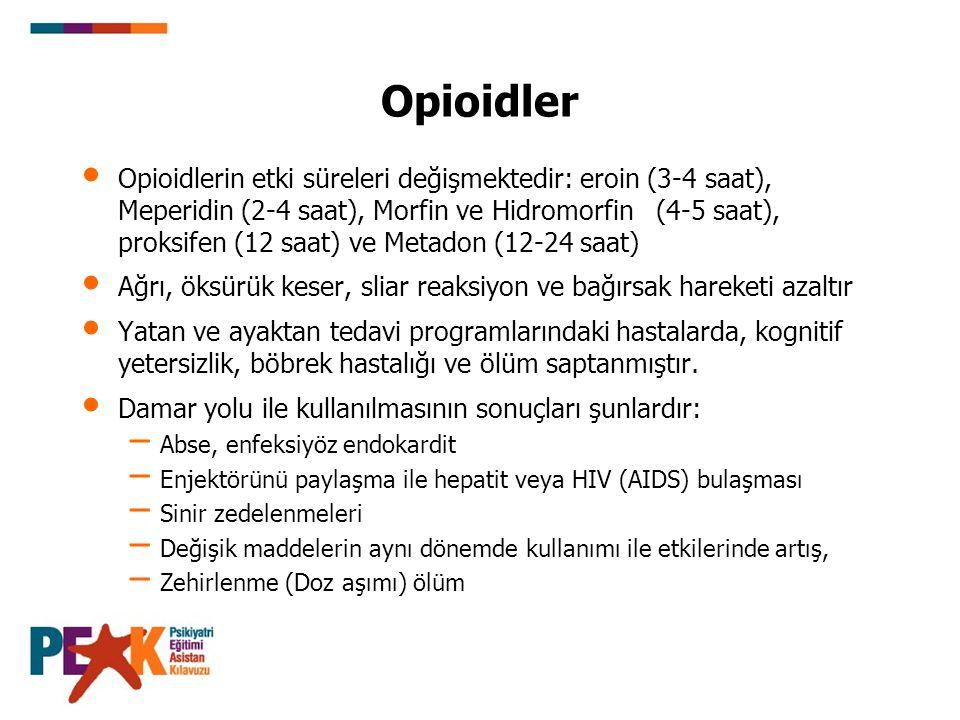 Opioidler Opioidlerin etki süreleri değişmektedir: eroin (3-4 saat), Meperidin (2-4 saat), Morfin ve Hidromorfin (4-5 saat), proksifen (12 saat) ve Me