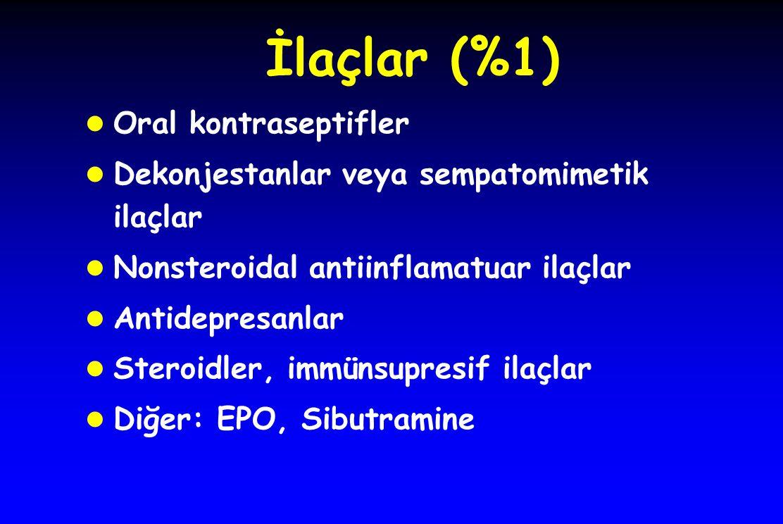 İlaçlar (%1) l Oral kontraseptifler l Dekonjestanlar veya sempatomimetik ilaçlar l Nonsteroidal antiinflamatuar ilaçlar l Antidepresanlar l Steroidler, immünsupresif ilaçlar l Diğer: EPO, Sibutramine