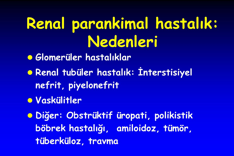 Renal parankimal hastalık: Nedenleri l Glomerüler hastalıklar l Renal tubüler hastalık: İnterstisiyel nefrit, piyelonefrit l Vaskülitler l Diğer: Obstrüktif üropati, polikistik böbrek hastalığı, amiloidoz, tümör, tüberküloz, travma