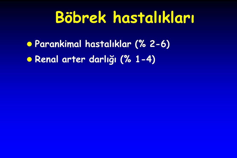 Böbrek hastalıkları l Parankimal hastalıklar (% 2-6) l Renal arter darlığı (% 1-4)