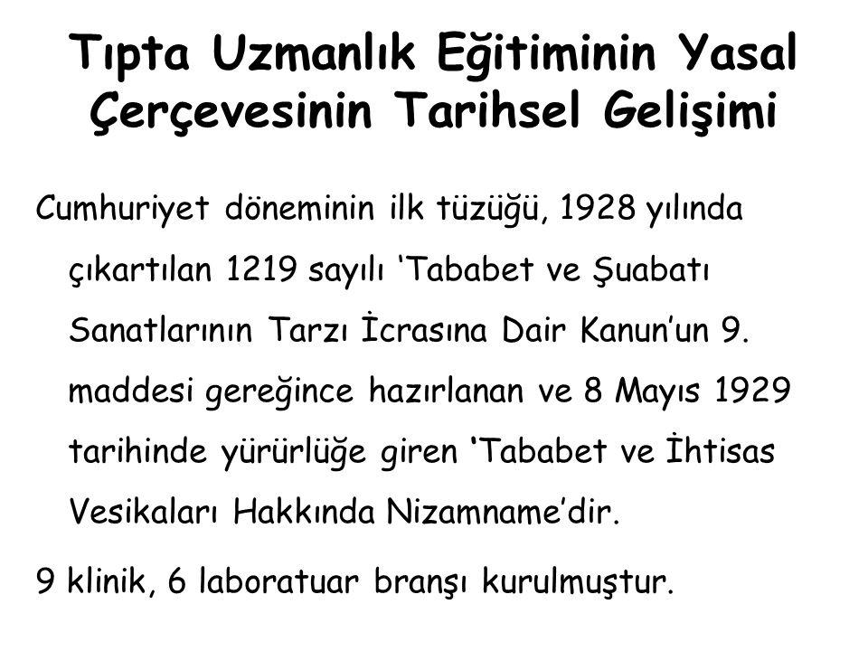 Tıpta Uzmanlık Eğitiminin Yasal Çerçevesinin Tarihsel Gelişimi 'Tababet Uzmanlık Belgeleri Tüzüğü 24 Temmuz 1947 tarihinde çıkartılmıştır.