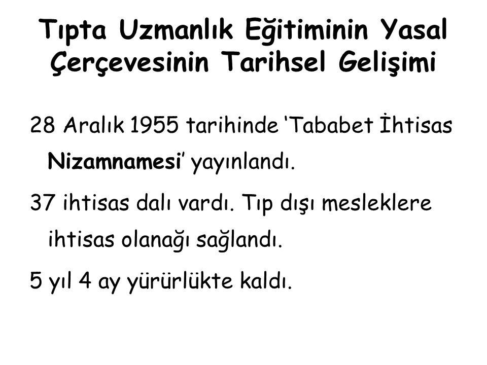 Tıpta Uzmanlık Eğitiminin Yasal Çerçevesinin Tarihsel Gelişimi 2 Haziran 1961 tarihinde 'Tababet İhtisas Tüzüğü'; ihtisas dalları gruplara ayrıldı.