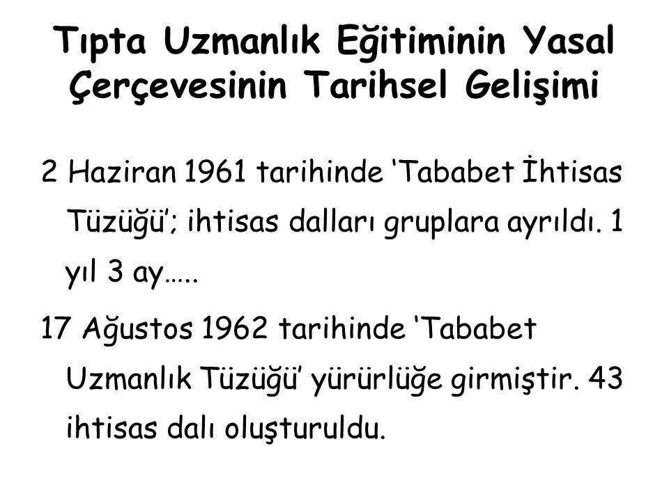 Tıpta Uzmanlık Eğitiminin Yasal Çerçevesinin Tarihsel Gelişimi 5 Nisan 1973 tarihinde, Cumhuriyet döneminin en uzun süre yürürlükte kalan tüzüğü olan 'Tababet Uzmanlık Tüzüğü' çıkartılmıştır.