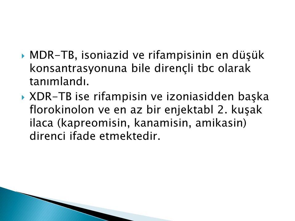  MDR-TB, isoniazid ve rifampisinin en düşük konsantrasyonuna bile dirençli tbc olarak tanımlandı.  XDR-TB ise rifampisin ve izoniasidden başka floro