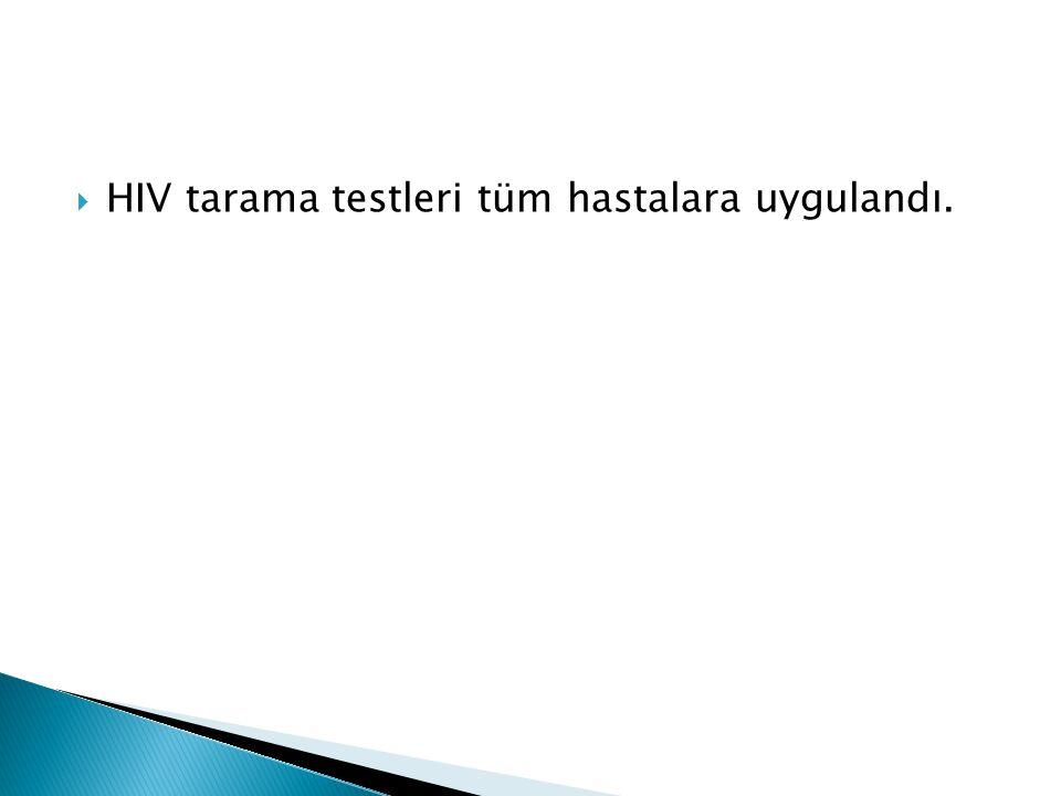  HIV tarama testleri tüm hastalara uygulandı.