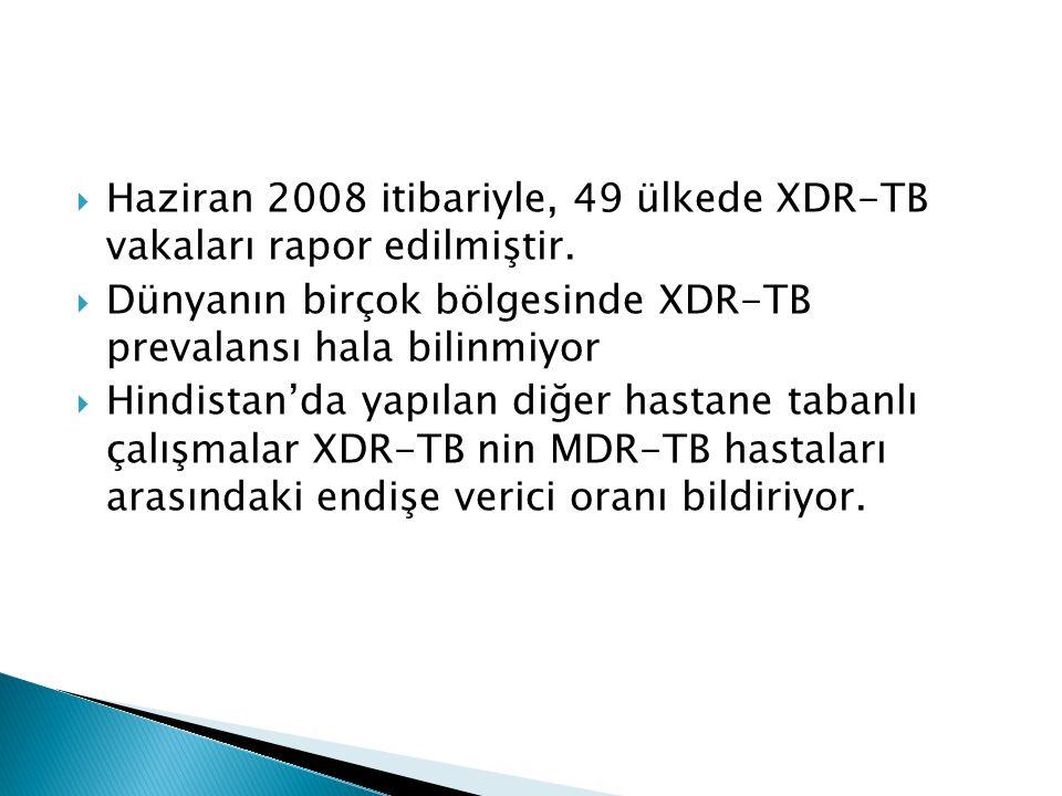  Haziran 2008 itibariyle, 49 ülkede XDR-TB vakaları rapor edilmiştir.