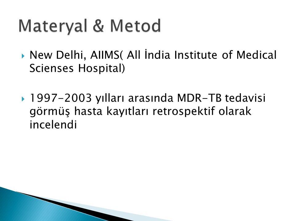  New Delhi, AIIMS( All İndia Institute of Medical Scienses Hospital)  1997-2003 yılları arasında MDR-TB tedavisi görmüş hasta kayıtları retrospektif olarak incelendi