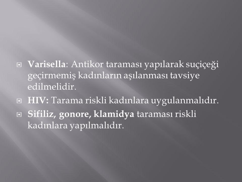  Varisella : Antikor taraması yapılarak suçiçeği geçirmemiş kadınların aşılanması tavsiye edilmelidir.