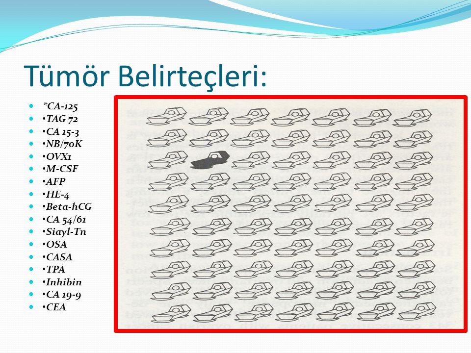 Tümör Belirteçleri: *CA-125 TAG 72 CA 15-3 NB/70K OVX1 M-CSF AFP HE-4 Beta-hCG CA 54/61 Siayl-Tn OSA CASA TPA Inhibin CA 19-9 CEA