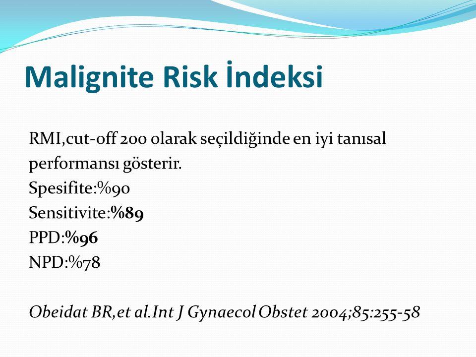 Malignite Risk İndeksi RMI,cut-off 200 olarak seçildiğinde en iyi tanısal performansı gösterir. Spesifite:%90 Sensitivite:%89 PPD:%96 NPD:%78 Obeidat