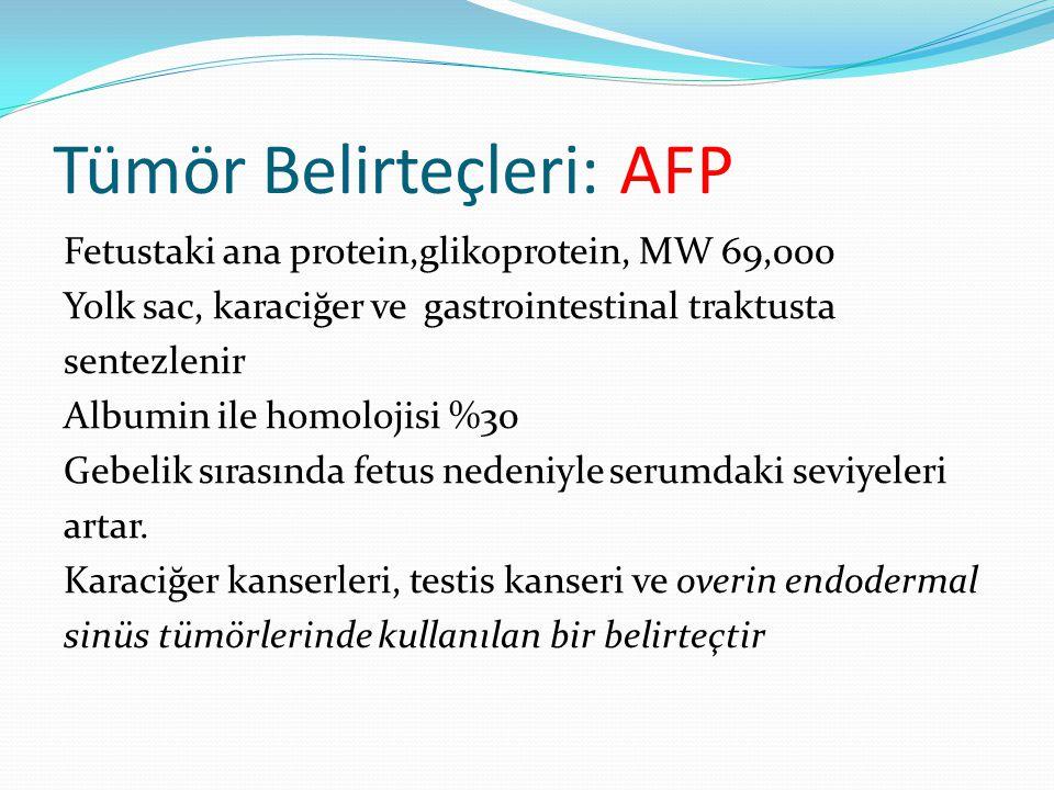 Tümör Belirteçleri: AFP Fetustaki ana protein,glikoprotein, MW 69,000 Yolk sac, karaciğer ve gastrointestinal traktusta sentezlenir Albumin ile homolojisi %30 Gebelik sırasında fetus nedeniyle serumdaki seviyeleri artar.