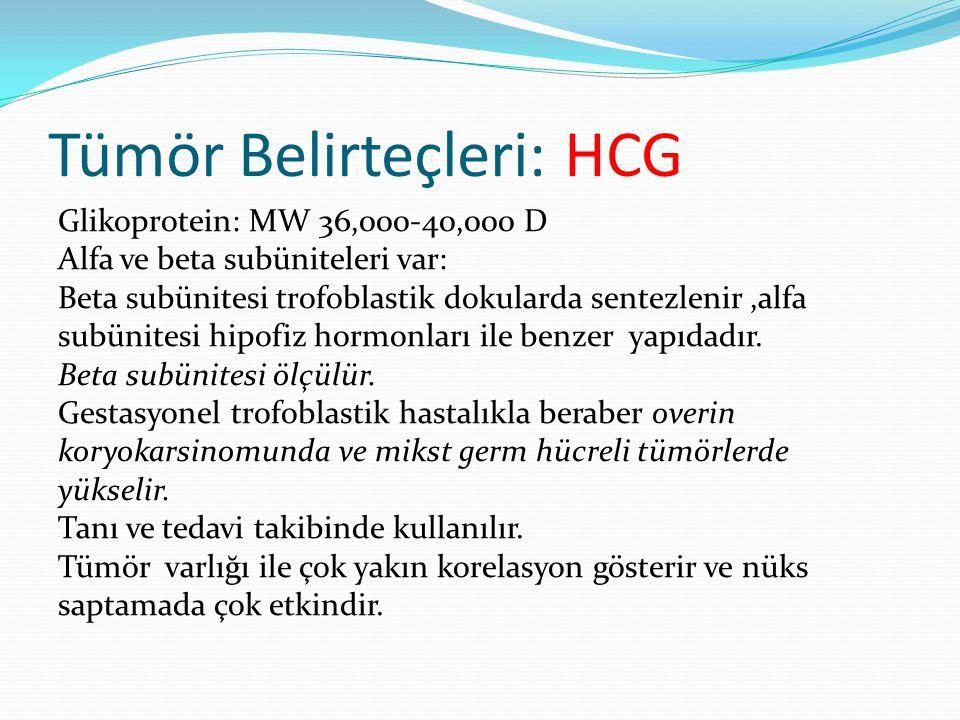 Tümör Belirteçleri: HCG Glikoprotein: MW 36,000-40,000 D Alfa ve beta subüniteleri var: Beta subünitesi trofoblastik dokularda sentezlenir,alfa subünitesi hipofiz hormonları ile benzer yapıdadır.