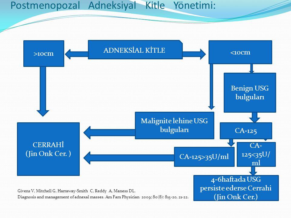 Postmenopozal Adneksiyal Kitle Yönetimi: Givens V, Mitchell G, Harraway-Smith C, Reddy A, Maness DL.