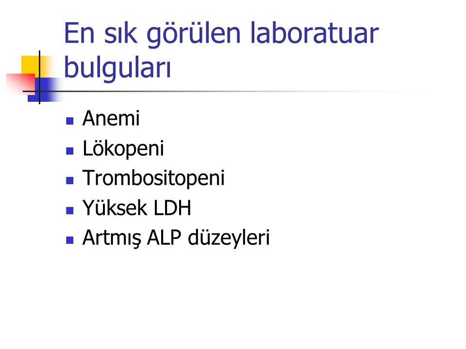 En sık görülen laboratuar bulguları Anemi Lökopeni Trombositopeni Yüksek LDH Artmış ALP düzeyleri