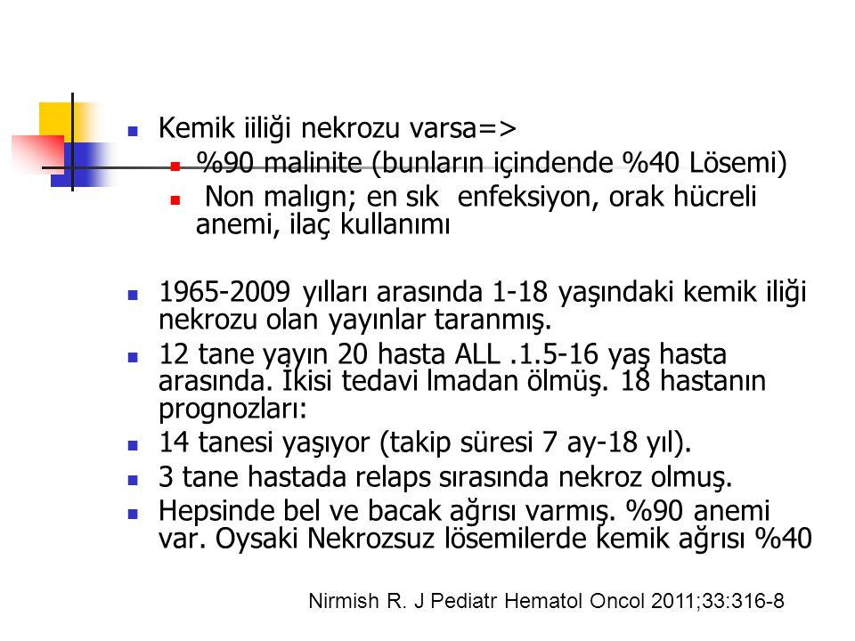 Kemik iiliği nekrozu varsa=> %90 malinite (bunların içindende %40 Lösemi) Non malıgn; en sık enfeksiyon, orak hücreli anemi, ilaç kullanımı 1965-2009