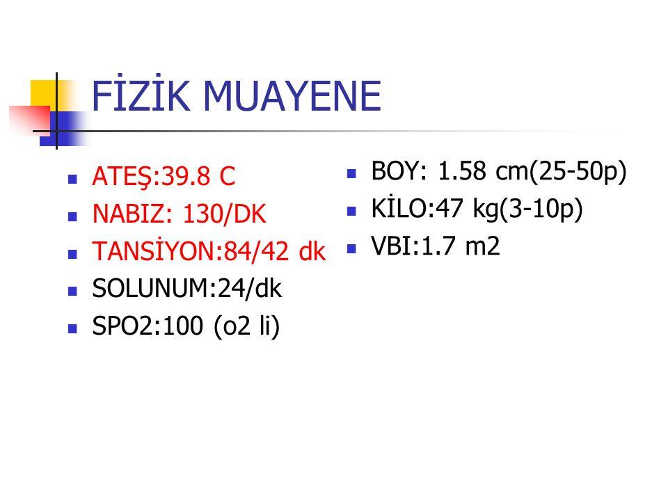 FİZİK MUAYENE ATEŞ:39.8 C NABIZ: 130/DK TANSİYON:84/42 dk SOLUNUM:24/dk SPO2:100 (o2 li) BOY: 1.58 cm(25-50p) KİLO:47 kg(3-10p) VBI:1.7 m2