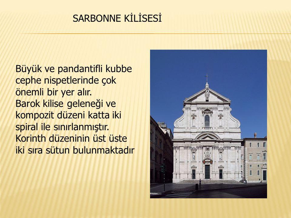 Büyük ve pandantifli kubbe cephe nispetlerinde çok önemli bir yer alır. Barok kilise geleneği ve kompozit düzeni katta iki spiral ile sınırlanmıştır.