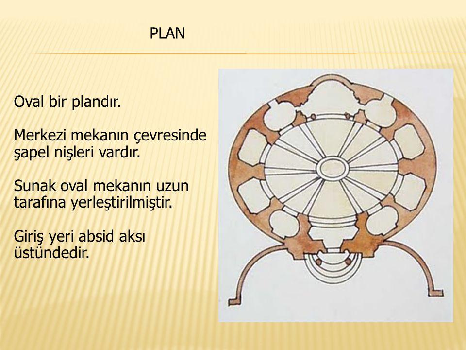 Oval bir plandır. Merkezi mekanın çevresinde şapel nişleri vardır. Sunak oval mekanın uzun tarafına yerleştirilmiştir. Giriş yeri absid aksı üstündedi