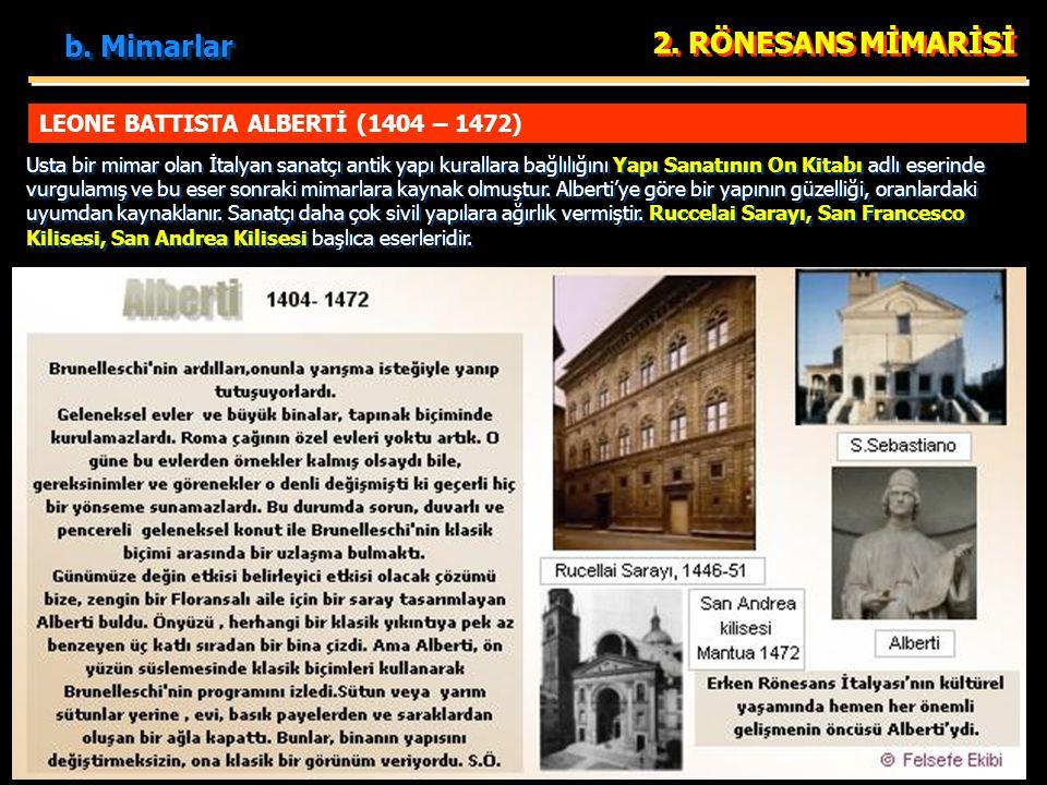 LEONE BATTISTA ALBERTİ (1404 – 1472) 2. RÖNESANS MİMARİSİ Usta bir mimar olan İtalyan sanatçı antik yapı kurallara bağlılığını Yapı Sanatının On Kitab