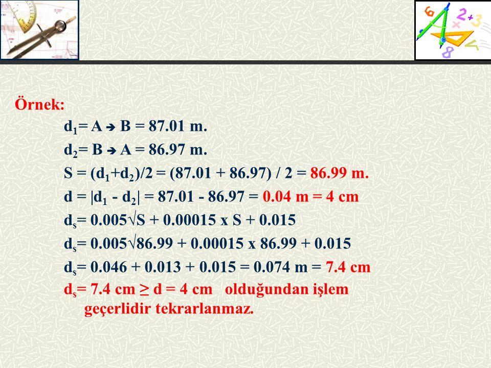Örnek: d 1 = A  B = 87.01 m.d 2 = B  A = 86.97 m.