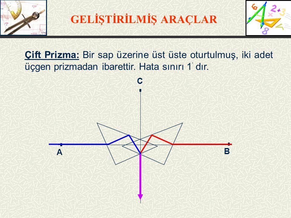 GELİŞTİRİLMİŞ ARAÇLAR Çift Prizma: Bir sap üzerine üst üste oturtulmuş, iki adet üçgen prizmadan ibarettir.