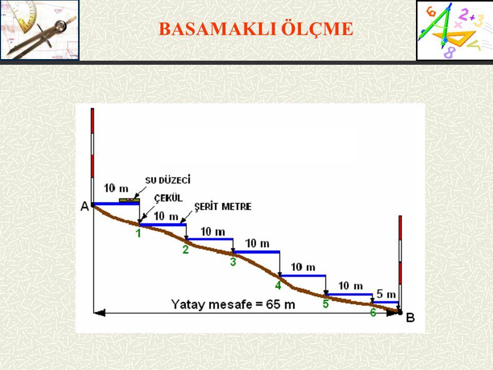 Basamaklı ölçme: Düzgün arazide şerit metre yere serilmek ve sonra gerdirilmek suretiyle kullanılır.