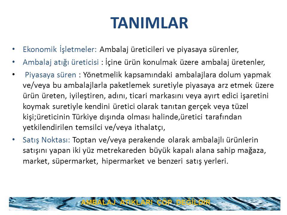 TANIMLAR Ekonomik İşletmeler: Ambalaj üreticileri ve piyasaya sürenler, Ambalaj atığı üreticisi : İçine ürün konulmak üzere ambalaj üretenler, Piyasay