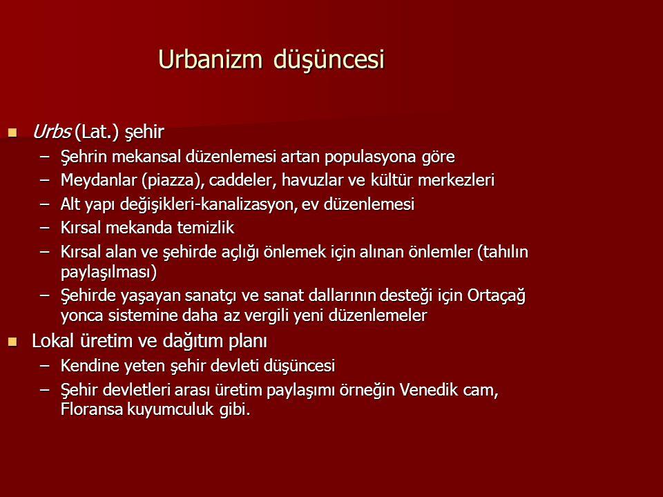 Urbanizm düşüncesi Urbs (Lat.) şehir Urbs (Lat.) şehir –Şehrin mekansal düzenlemesi artan populasyona göre –Meydanlar (piazza), caddeler, havuzlar ve