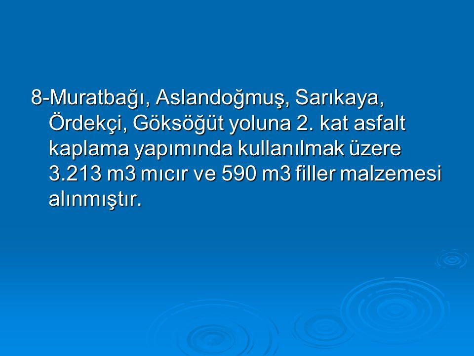 8-Muratbağı, Aslandoğmuş, Sarıkaya, Ördekçi, Göksöğüt yoluna 2. kat asfalt kaplama yapımında kullanılmak üzere 3.213 m3 mıcır ve 590 m3 filler malzeme