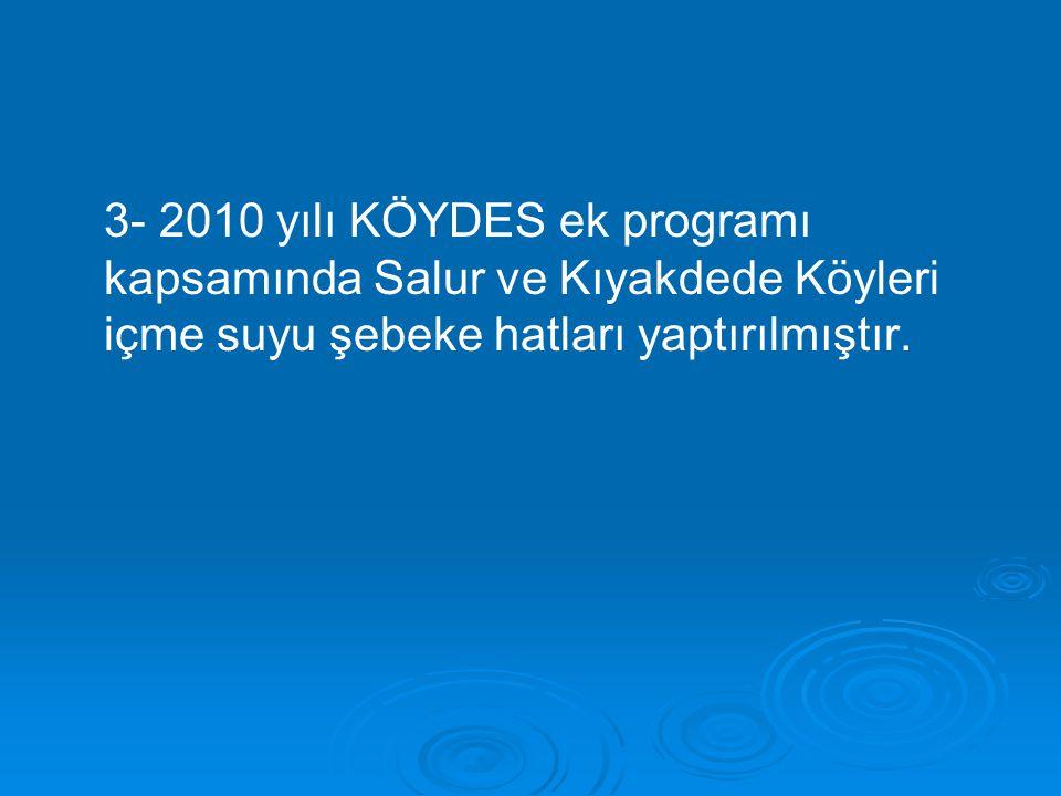 3- 2010 yılı KÖYDES ek programı kapsamında Salur ve Kıyakdede Köyleri içme suyu şebeke hatları yaptırılmıştır.