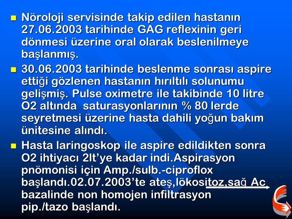 Hastanın NIF ve MEP de ğ erlerinin takibinde solunum kas gücünün toparlandı ğ ı gözlendi. 20.06.2003 NIF:-50 MEP:+30 Hastanın NIF ve MEP de ğ erlerini