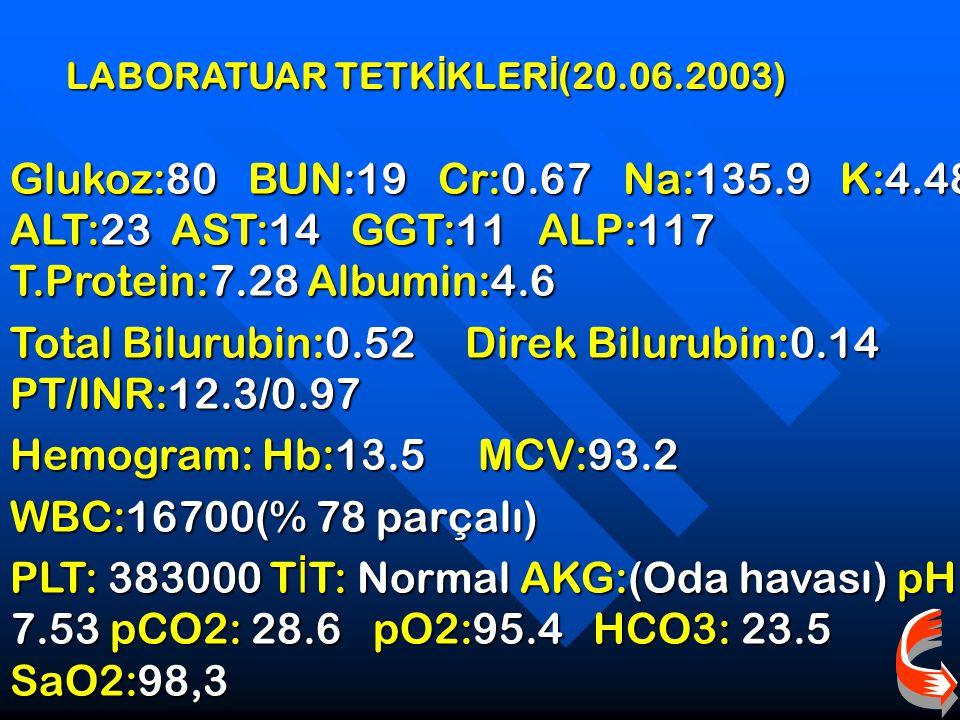 LABORATUAR TETK İ KLER İ (20.06.2003) Glukoz:80 BUN:19 Cr:0.67 Na:135.9 K:4.48 ALT:23 AST:14 GGT:11 ALP:117 T.Protein:7.28 Albumin:4.6 Total Bilurubin:0.52 Direk Bilurubin:0.14 PT/INR:12.3/0.97 Hemogram: Hb:13.5 MCV:93.2 WBC:16700(% 78 parçalı) PLT: 383000 T İ T: Normal AKG:(Oda havası) pH: 7.53 pCO2: 28.6 pO2:95.4 HCO3: 23.5 SaO2:98,3
