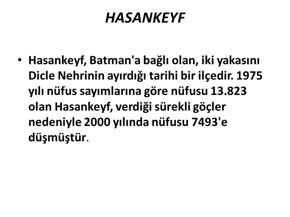 HASANKEYF Hasankeyf, Batman'a bağlı olan, iki yakasını Dicle Nehrinin ayırdığı tarihi bir ilçedir. 1975 yılı nüfus sayımlarına göre nüfusu 13.823 olan