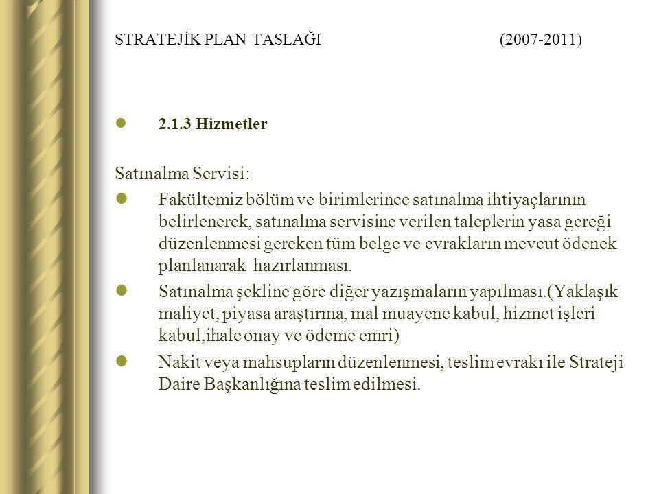 STRATEJİK PLAN TASLAĞI (2007-2011) 2.1.3 Hizmetler Satınalma Servisi: Fakültemiz bölüm ve birimlerince satınalma ihtiyaçlarının belirlenerek, satınalm
