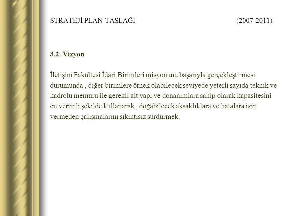 STRATEJİ PLAN TASLAĞI (2007-2011) 3.2.