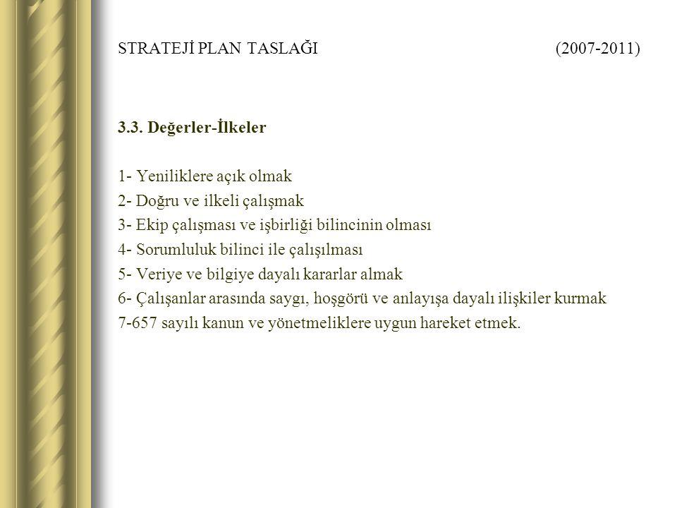 STRATEJİ PLAN TASLAĞI (2007-2011) 3.3.