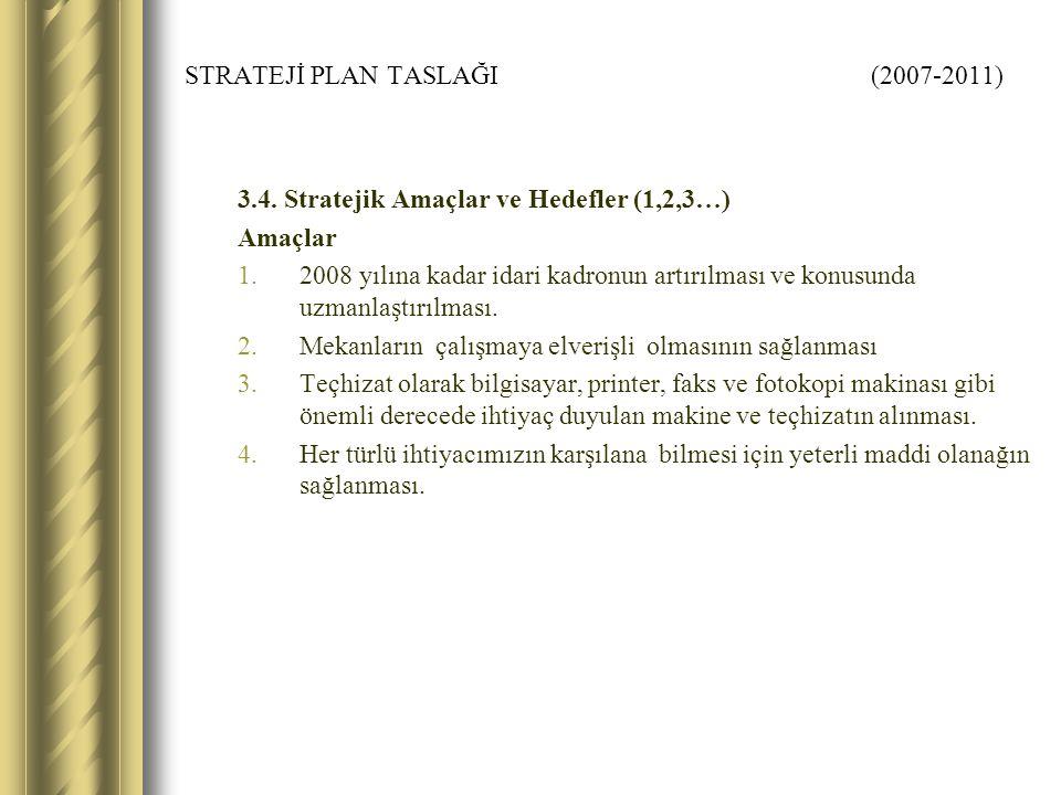 STRATEJİ PLAN TASLAĞI (2007-2011) 3.4. Stratejik Amaçlar ve Hedefler (1,2,3…) Amaçlar 1.2008 yılına kadar idari kadronun artırılması ve konusunda uzma
