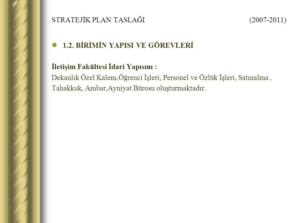 STRATEJİK PLAN TASLAĞI (2007-2011) 1.2.