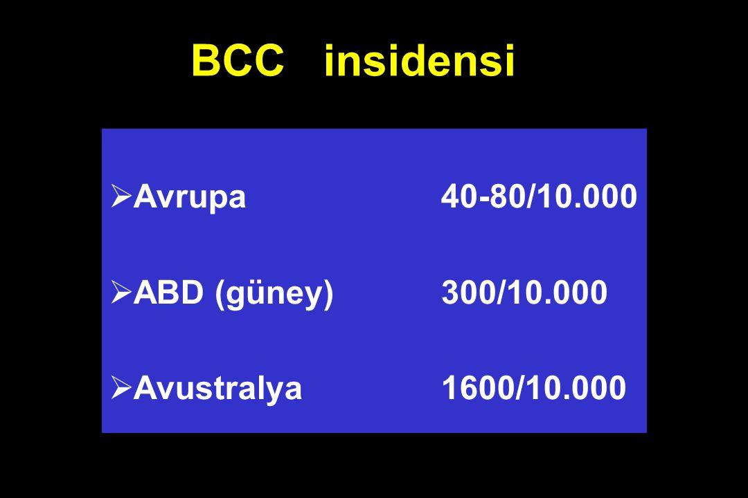 BCC insidensi  Avrupa 40-80/10.000  ABD (güney) 300/10.000  Avustralya 1600/10.000