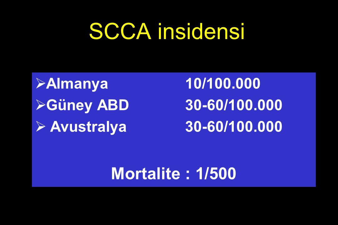 SCCA insidensi  Almanya 10/100.000  Güney ABD 30-60/100.000  Avustralya 30-60/100.000 Mortalite : 1/500