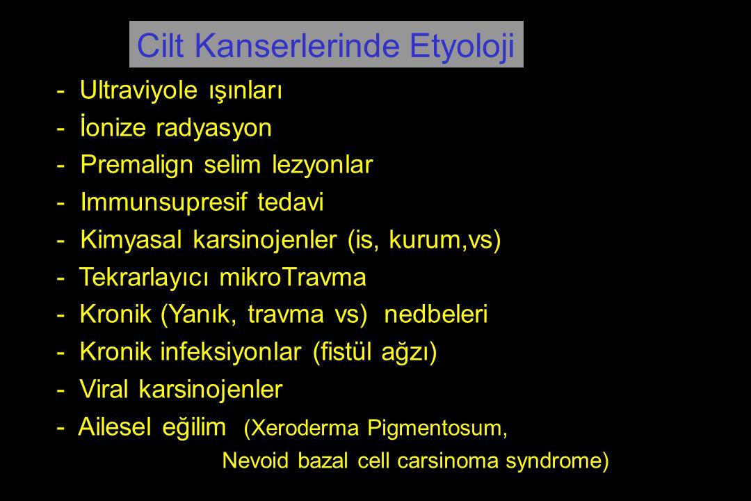 - Ultraviyole ışınları - İonize radyasyon - Premalign selim lezyonlar - Immunsupresif tedavi - Kimyasal karsinojenler (is, kurum,vs) - Tekrarlayıcı mi