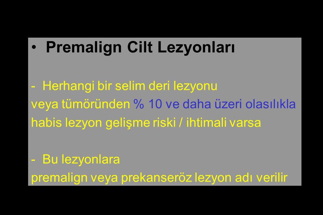 Premalign Cilt Lezyonları - Herhangi bir selim deri lezyonu veya tümöründen % 10 ve daha üzeri olasılıkla habis lezyon gelişme riski / ihtimali varsa