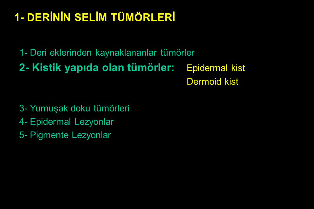 1- Deri eklerinden kaynaklananlar tümörler : 2- Kistik yapıda olan tümörler: 3- Yumuşak doku tm.: Dermatofibrom Papillom Ksantom Lipom Hemangiom Nörofibrom Leiomyom (Bağ dokusu tm.