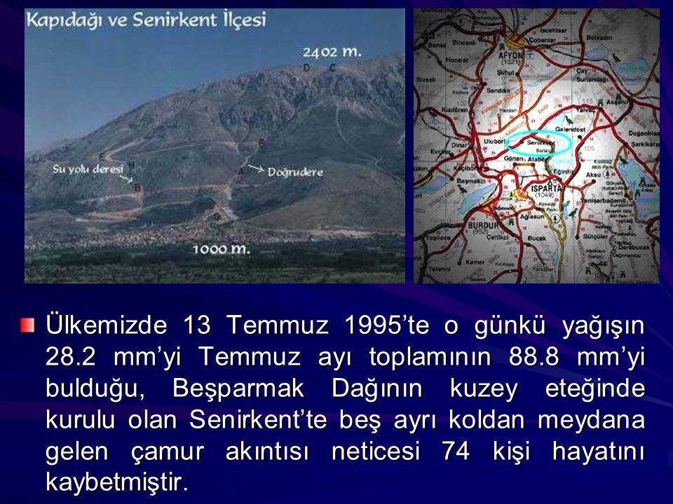 Ülkemizde 13 Temmuz 1995'te o günkü yağışın 28.2 mm'yi Temmuz ayı toplamının 88.8 mm'yi bulduğu, Beşparmak Dağının kuzey eteğinde kurulu olan Senirken