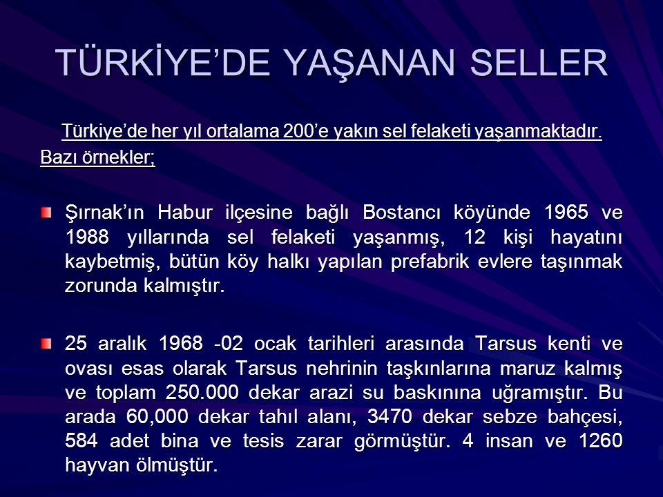 TÜRKİYE'DE YAŞANAN SELLER Türkiye'de her yıl ortalama 200'e yakın sel felaketi yaşanmaktadır. Bazı örnekler; Şırnak'ın Habur ilçesine bağlı Bostancı k